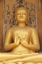 golden praying Buddha