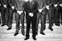 groomsmen on steps looking classy