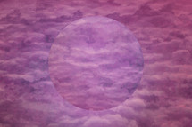 purple abstract clouds background with circle