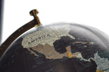 globe with North America and Central America