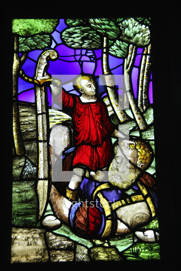 David and Goliath stained glass window