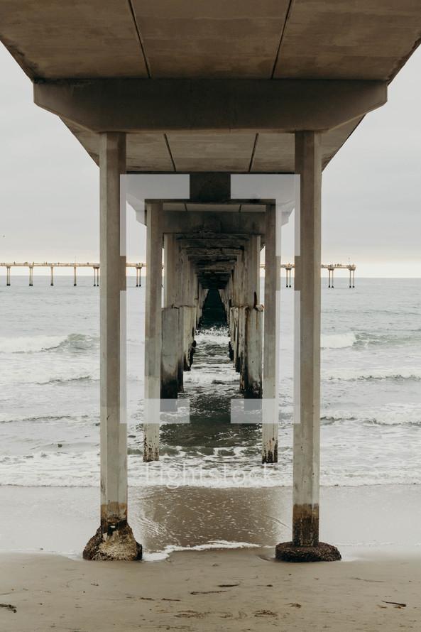 waves under a concrete pier