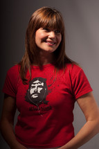 woman wearing a Jesus Sound t-shirt