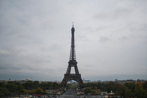 Eiffel tower under an overcast sky