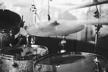 cymbals and drum set