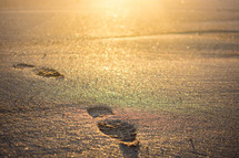 footprint in sand and morning sunlight