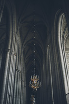 chandliers in a cathedral