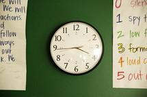 school clock on a green wall.