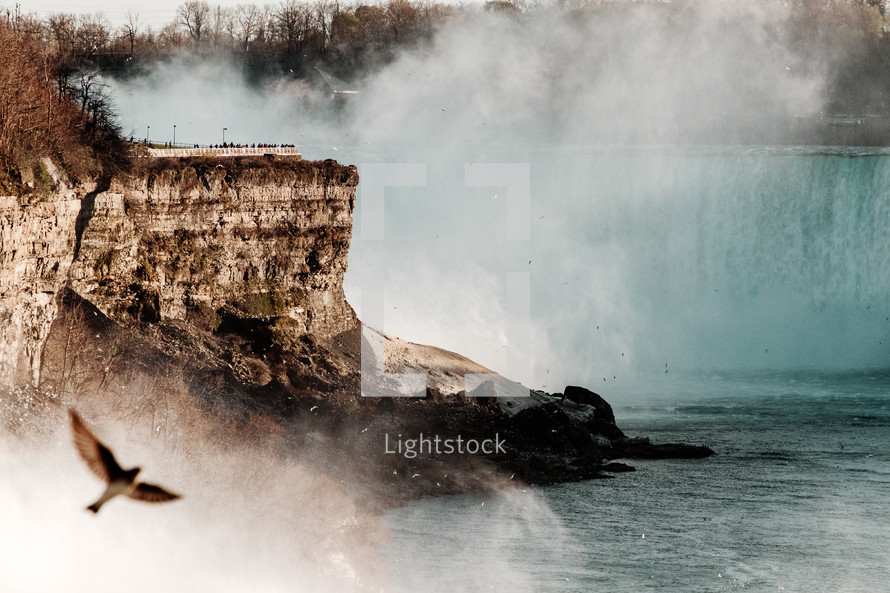 mist rising from a waterfall