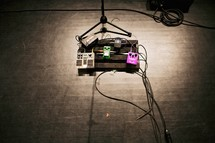 guitar pedals and microphone stand