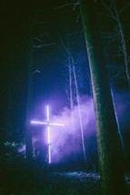 lights shining on a cross at night in a forest