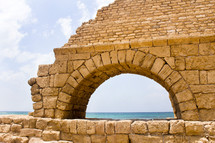 An arch of the ancient Roman aqueduct in what was Caesarea.