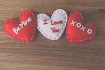 Valentine's felt hearts