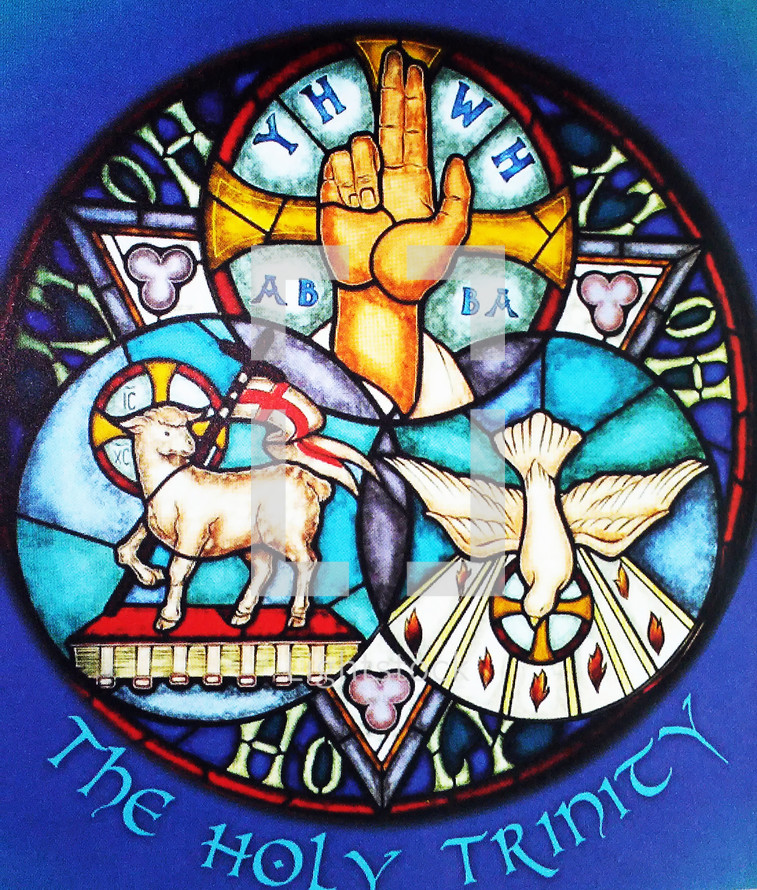 The Holy Trinity, God the Father, God the Son, God the Holy Spirit, Symbols, Icons, Dove, Yahweh, Lamb of God represented by iconography and symbols representing the Holy Trinity of God the Father, God the Son and God The Holy Spirit. The Holy Spirit is represented by the Dove, God the Son is represented by the Lamb of God symbolizing Jesus as the ultimate sacrifice for our sins and the Hand of God writing on the wall as spoken of in the book of Daniel.