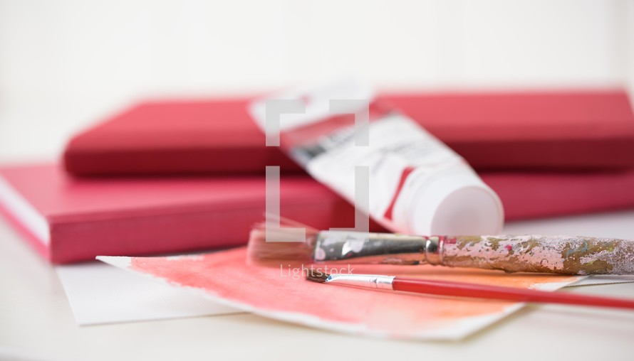 sketchpad, red, paint, paint brushes, art supplies, paper, watercolor, art
