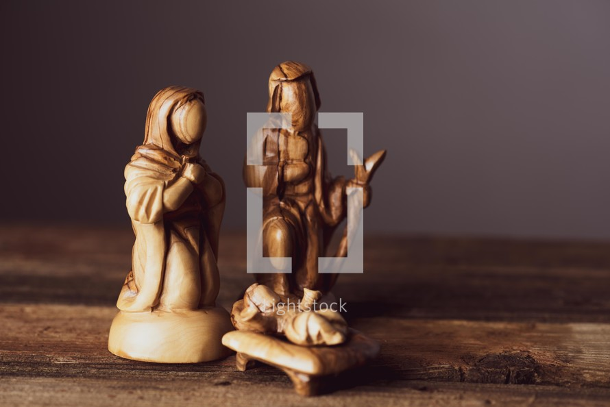 carved Holy family figurines