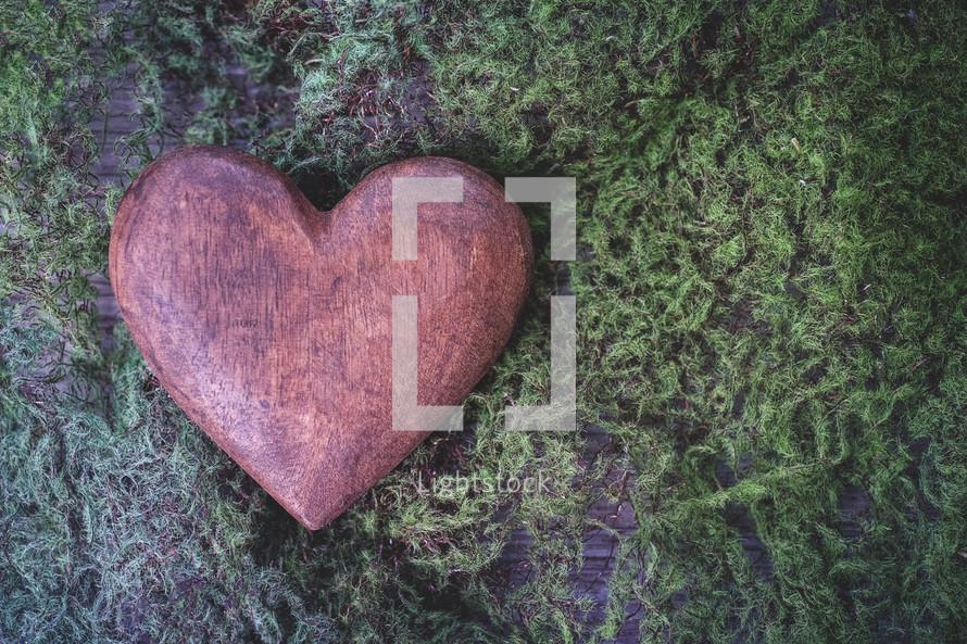 heart shaped stone on moss
