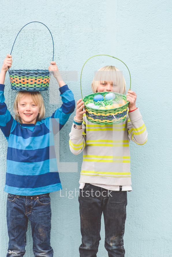 boys looking for Easter eggs