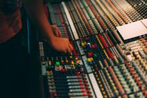sound desk and controls
