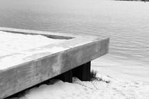 Concrete platform overlooking sandy beach