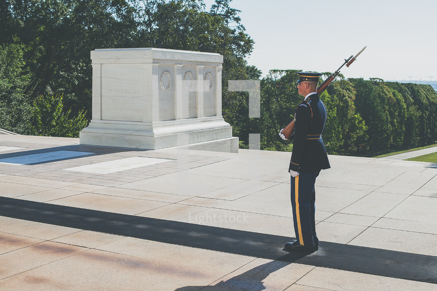 Soldier Guarding the tomb of the unknown soldier