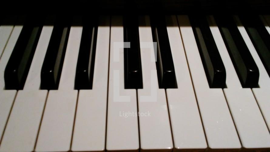 piano keys on a piano keyboard at a local church