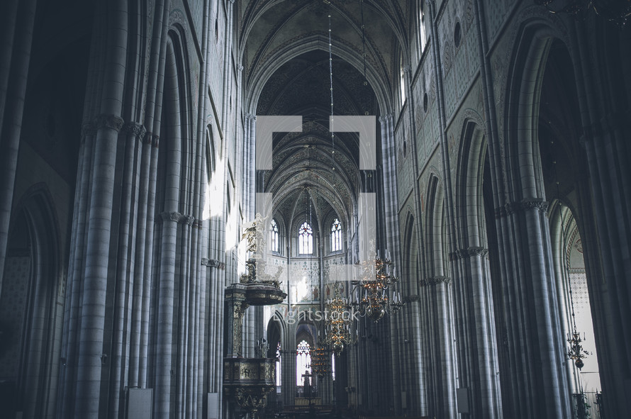 chandeliers in a cathedral