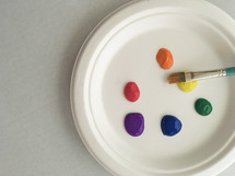 paint and paint brush on a plate
