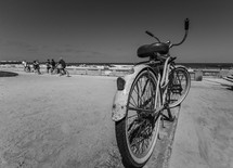 beach cruiser parked along a beach