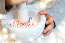 grinding peppermint