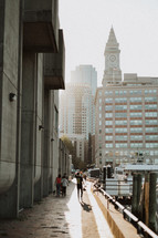 pedestrians in the harbor in Boston