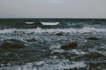 choppy waves in the ocean