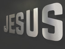Jesus sign lettering word church lobby welcome