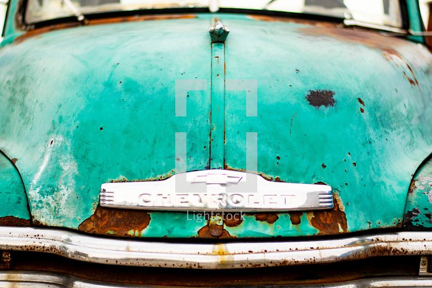 rusty green truck