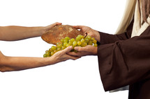 Jesus gives grapes and bread