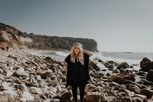 woman standing on a rocky beach in Palos Verdes