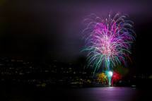 fireworks with city lights in the background