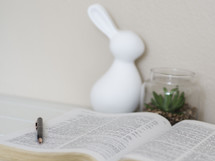 white rabbit figurine, succulent plants, and pen on an open Bible
