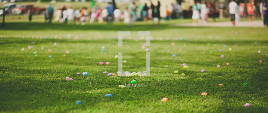 Easter eggs on the lawn