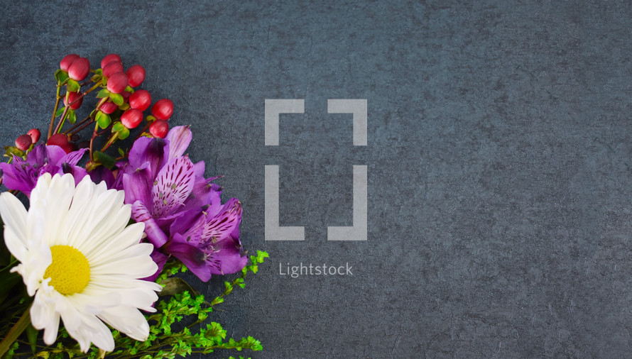 spring flower bouquet on slate