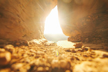 sunlight shining into a cave