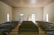 empty pews in an old church