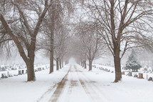snow along a road through a cemetery