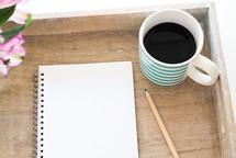 spiral notebook, study, journal, pencil, notebook, notes, mug, vase, flowers, workspace