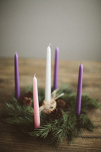Advent candles and wreath