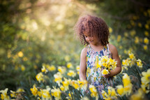 a little girl picking daffodils
