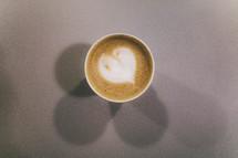 heart shape in creamer in a coffee mug