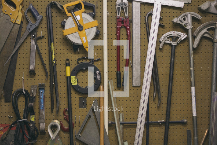 tools on a peg board