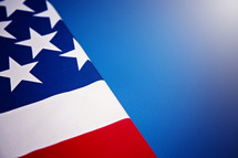 American flag and blue background