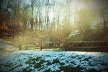 snow on a rural farm